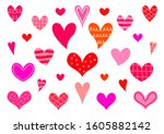 set of red and pink vector... | Shutterstock .eps vector #1605882142