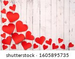 flatlay composition with hearts ... | Shutterstock . vector #1605895735