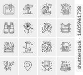 16 universal business icons... | Shutterstock .eps vector #1605961738