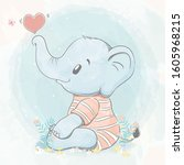 cute baby elephant with bubble... | Shutterstock .eps vector #1605968215