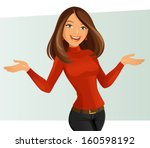 smiling girl | Shutterstock .eps vector #160598192