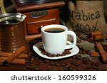 metal turk and coffee cup... | Shutterstock . vector #160599326
