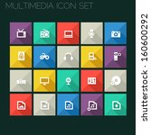 trend multimedia icons with...