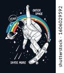 astronaut skateboarding in... | Shutterstock .eps vector #1606029592