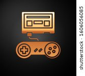 gold video game console with... | Shutterstock .eps vector #1606056085