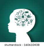 illustration of child head with ... | Shutterstock . vector #160610438