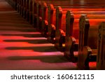 church pews in reflected... | Shutterstock . vector #160612115