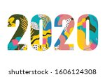 happy new year 2020 design... | Shutterstock .eps vector #1606124308