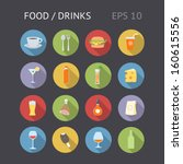 flat icons for food and drinks. ... | Shutterstock .eps vector #160615556