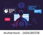 a man sits at a computer at... | Shutterstock .eps vector #1606180258