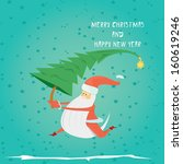 funny santa claus running with... | Shutterstock .eps vector #160619246