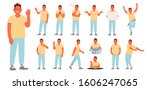 set of character of a young man ... | Shutterstock .eps vector #1606247065