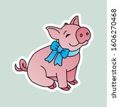 sticker of pig wears a blue tie ...   Shutterstock . vector #1606270468