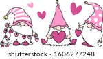 cute gnomes with hearts in pink ... | Shutterstock .eps vector #1606277248