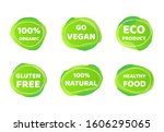 vegan bio food logo set. green... | Shutterstock .eps vector #1606295065