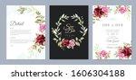 wedding invitation design with... | Shutterstock .eps vector #1606304188