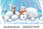 little snowman and little girl... | Shutterstock . vector #1606327645