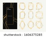 golden collection of polygonal... | Shutterstock .eps vector #1606375285