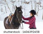 a beautiful brunette girl in a... | Shutterstock . vector #1606392658