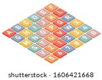 isometric letters and numbers... | Shutterstock .eps vector #1606421668
