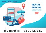 man rent car by smartphone ...