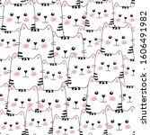 seamless pattern with cute... | Shutterstock .eps vector #1606491982