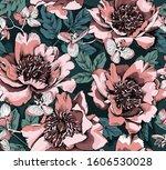 Seamless Floral Pattern. Peony  ...