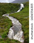 Small photo of Eas a' Bhradain Waterfall on Allt Coire nam Bruadaran river in spate after heavy rain Loch Ainort, Isle of Skye, Western Isles, Scotland