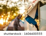 RV Camper Electric Hookup. Recreation Vehicle Exterior Power Supply Plug. Campground Feature. - stock photo