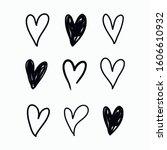 vector set of doodle hand drawn ... | Shutterstock .eps vector #1606610932