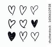 vector set of doodle hand drawn ... | Shutterstock .eps vector #1606610938