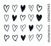 vector set of doodle hand drawn ... | Shutterstock .eps vector #1606610965