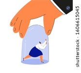 Gender inequality in employment concept.Tiny young woman under bell glass.Giant hand holding a bell.Sexism on work.Cartoon characters isolated on white background.Flat color vector illustration