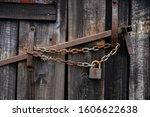 Old Wooden Barn Door With Rusty ...