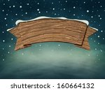 Wooden Blank Sign In Snow