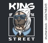 pug dog king of the street... | Shutterstock .eps vector #1606748245