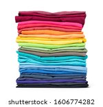 Stack Of Colorful T Shirt...