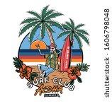 skeleton surfer  summer t shirt ... | Shutterstock .eps vector #1606798048