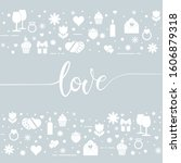 greeting card. love calligraphy ... | Shutterstock . vector #1606879318
