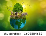 Small photo of Concept Nature reserve conserve Wildlife reserve tiger Deer Global warming Food Loaf Ecology Human hands protecting the wild and wild animals tigers deer, trees in the hands green background Sun light
