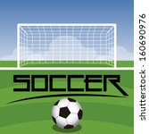 soccer field with goal  ball... | Shutterstock .eps vector #160690976