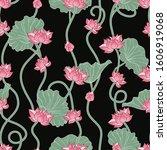 lotus seamless pattern. pink... | Shutterstock .eps vector #1606919068