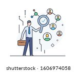 businessman with magnifier... | Shutterstock .eps vector #1606974058