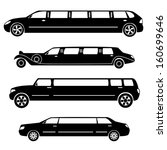 Limousines silhouettes vector collection - stock vector