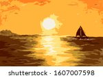 lonely yacht in the sunset on... | Shutterstock . vector #1607007598