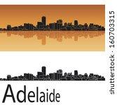 adelaide skyline in orange... | Shutterstock . vector #160703315
