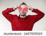 Adult Funny Man Covering Eyes...