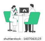 pulmonology doctors checking... | Shutterstock .eps vector #1607063125