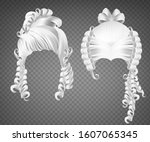 white curly girl wig  women... | Shutterstock .eps vector #1607065345