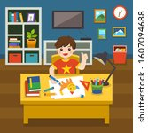 adorable little boy drawing the ... | Shutterstock .eps vector #1607094688